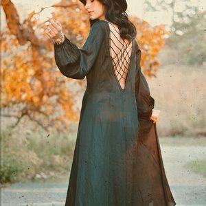 Free People NWT black maxi  dress